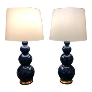 Pair of Modern Blue Lamps with Linen Shades For Sale