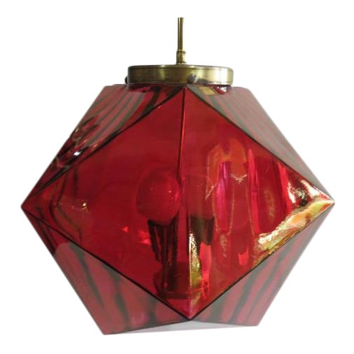 Geodesic Cranberry Colored Light Pendant Mid Century Modern For Sale