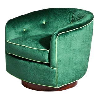 1980s Milo Baughman Green Swivel Club Chair For Sale