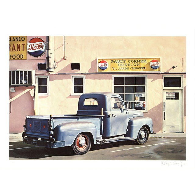 1972 Ralph Goings Paul's Corner Cushion Offset Lithograph For Sale