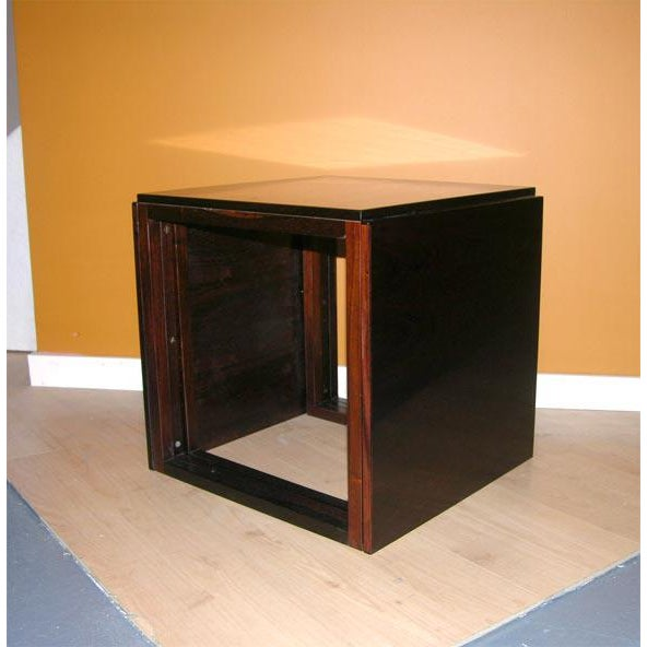 1960s Danish Rosewood Cube of Nesting Tables - Set of 3 For Sale - Image 5 of 7