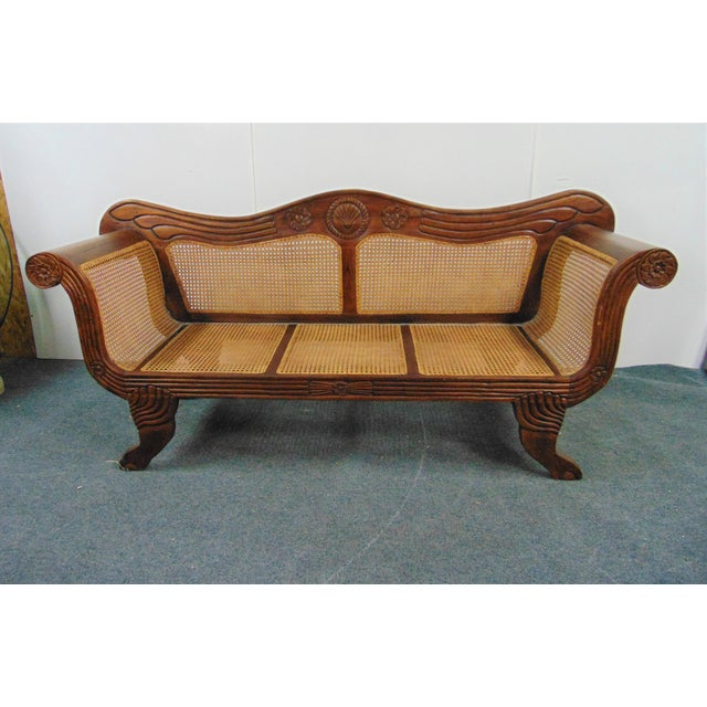 Wood Anglo Indian Carved Mahogany & Cane Sofa For Sale - Image 7 of 7
