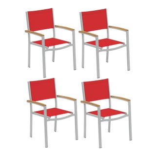 Outdoor Sling Arm Chair, Natural and Red (Set of 4) For Sale