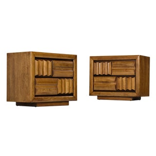 Mid-Century Brutalist Oak Nightstand End Tables - Carved Wood Drawer Fronts For Sale