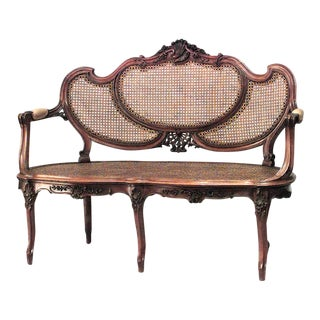 French Louis XV Walnut Loveseat For Sale
