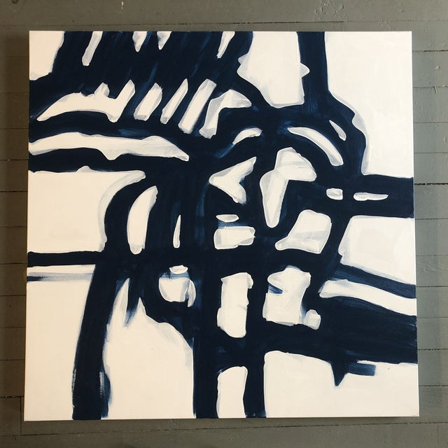 Original Contemporary Wayne Cunningham 36 X 36 Blue & White Abstract Painting For Sale In Philadelphia - Image 6 of 6