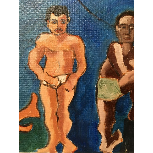 """Blue """"The Bath House"""" Original Vintage Oil on Canvas Painting For Sale - Image 8 of 10"""