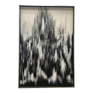 Mid-Century Black and White Abstract Oil on Canvas Circa 1974 For Sale