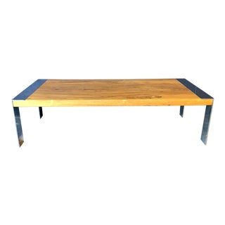 1980's Vintage Milo Baughman Rosewood and Chrome Coffee Table