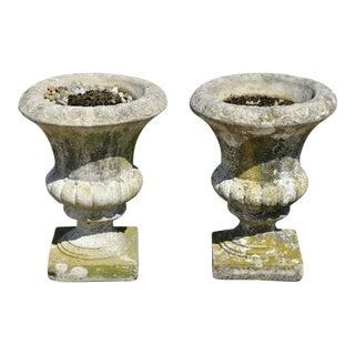 Vintage Urn Form Cement Garden Patio Planter Pots - a Pair For Sale