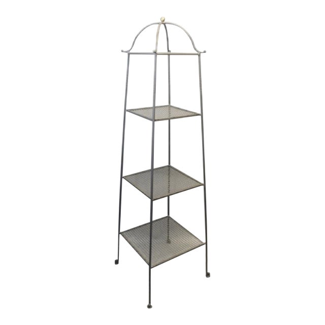 Triple-Tiered Black Wrought Iron Stand For Sale