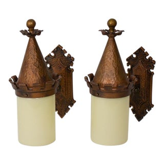 Pair Of Bronze And Glass Exterior Sconces For Sale