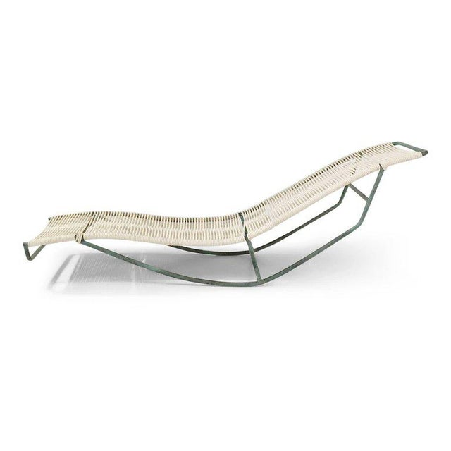 """Sculptural """"Waikiki"""" rocking chaise lounge chair by Walter Lamb recently procured from the estate of Shirley Temple. This..."""