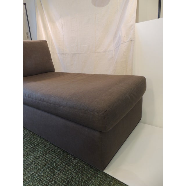 Gray Crate and Barrel Chaise Lounge in Brown Linen For Sale - Image 8 of 12