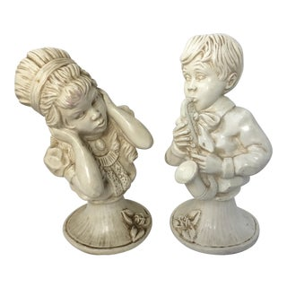1950s Vintage Plaster Busts of a Boy and Girl- A Pair For Sale