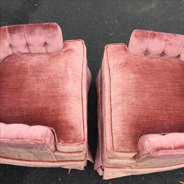 Vintage Mauve Velvet Hollywood Tufted Club Chairs - Pair - Image 6 of 11