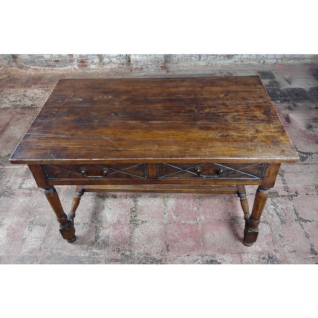 1940s Spanish Revival Two Drawer Writing / Dining Table For Sale - Image 5 of 10