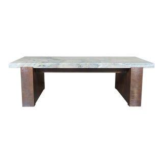 Copper Cocktail Table with Stone Top For Sale