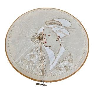 Vintage Geisha Embroidered Wall Decor For Sale