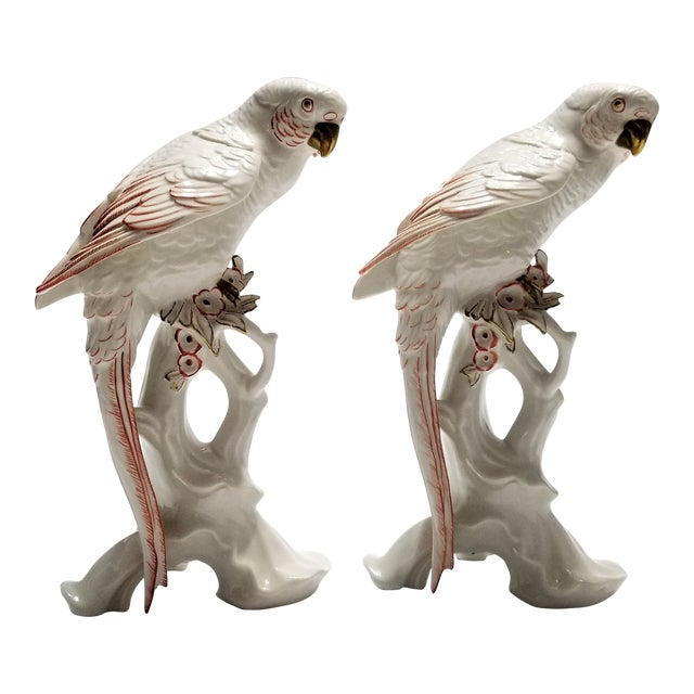 Rare Large White Porcelain Parrots by Karl Ens - Each Signed - Volkstedt Germany - Art Deco Palm Beach Boho Chic Tropical Coastal For Sale