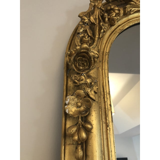 Large 19th Century French Guilt and Wood Gesso Mirror For Sale - Image 4 of 13