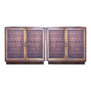 1970 Hollywood Regency Lane Perception Basket Weave Chests - a Pair For Sale