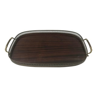 Mahogany Brass Serving Tray Mid Century For Sale