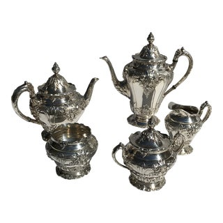 Reed and Barton Silver Plated Renaissance Pattern Hot Chocolate Tea/Coffee Pieces - Set of 5 For Sale