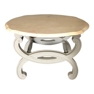 Side Table With Carrera Marble Top and Grey Lacquered Wood Base For Sale