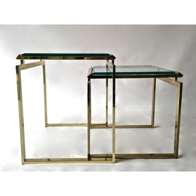 Mid-Century Brass & Glass Nesting Tables - A Pair - Image 4 of 10