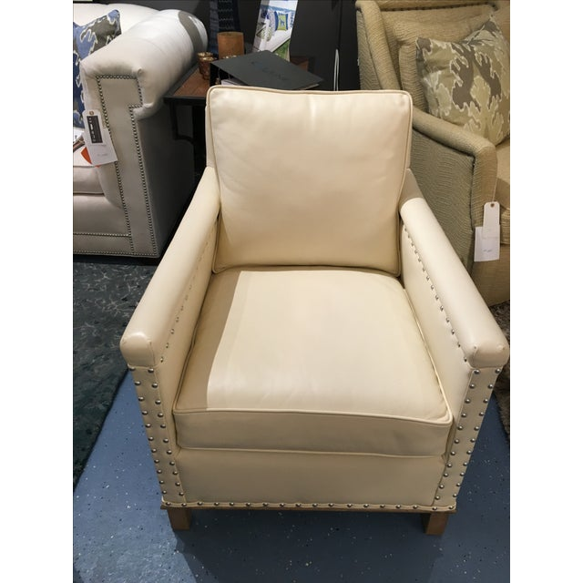 CR Laine Gotham Creme Leather Chair - Image 2 of 8