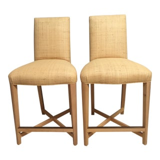 1980s Contemporary Donghia Raffia Bar Stools - a Pair