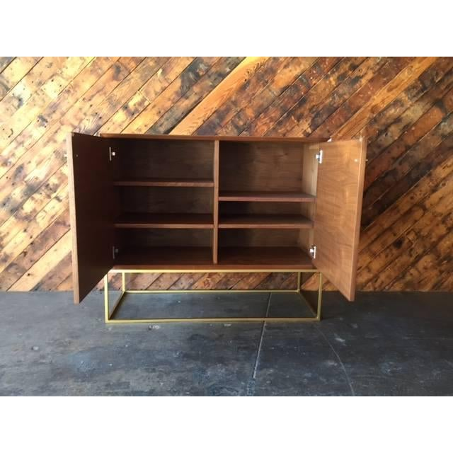 Custom Mid-Century Style Walnut & Brass Credenza For Sale - Image 5 of 6