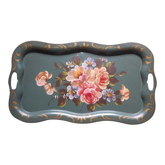 Vintage Floral Green Tole Tray - Image 1 of 5