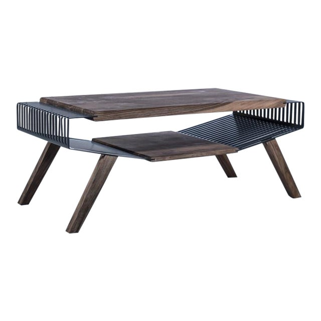 Solid Wood & Perforated Steel Coffee Table - Image 1 of 8