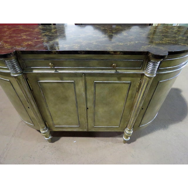French Maitland Smith Faux Marble Top Commode For Sale - Image 3 of 13