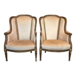 Louis XVI Style Wingback Bergere Chairs - a Pair