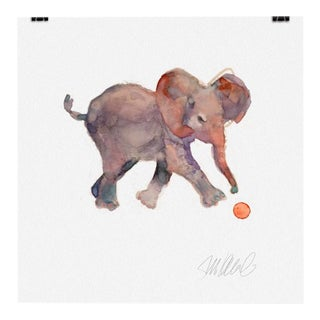 Baby Elephant & Ball Giclee Print For Sale