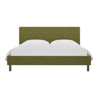 California King Tailored Platform Bed in Moss Velvet For Sale