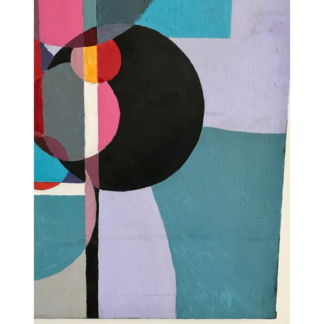 1970s 1970s Vintage Acrylic Geometric Painting For Sale - Image 5 of 6