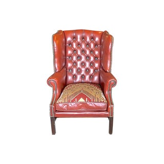 1900s Antique Wingback Red Leather Chair For Sale