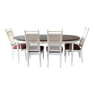 Vintage Faux Bamboo Dining Set Table & Cane Back Chairs For Sale
