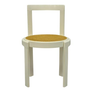 Mid Century Modern Italian Thonet Round White Cane Seat Side Chair For Sale