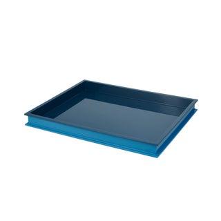 Jeffrey Bilhuber Collection Large Rectangular Tray in Teal / Horizon Blue For Sale