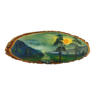 Hand Painted Landscape On Wood