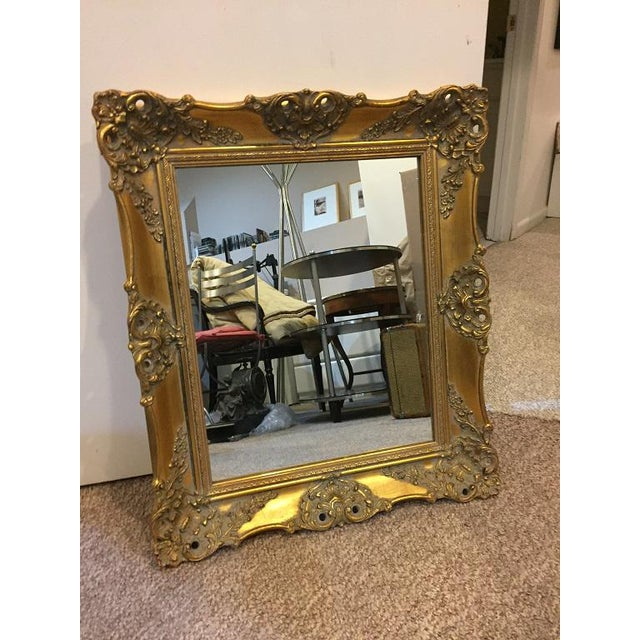 Glass 1970's Vintage French Gilded Gold Framed Mirror For Sale - Image 7 of 10