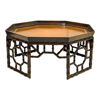 Vintage Chinese Chippendale Style Faux Bamboo Coffee Table For Sale