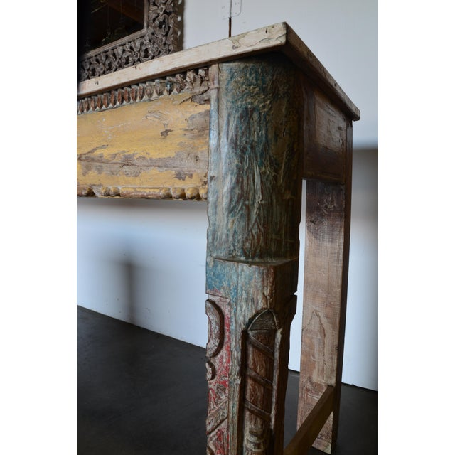 Vintage Reclaimed Wood Teak Indian Console For Sale - Image 4 of 8