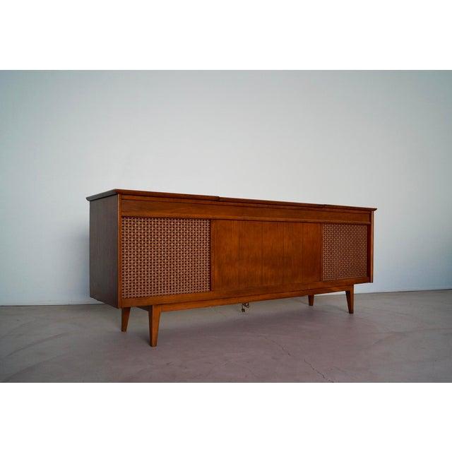1960s 1960s Danish Modern Silvertone Walnut Record Console For Sale - Image 5 of 13