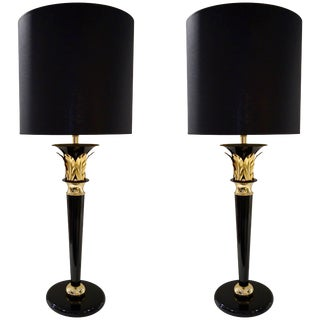 1970 Italian Hollywood Regency Black Lacquered and Gold Leaf-Motif Lamps - a Pair For Sale